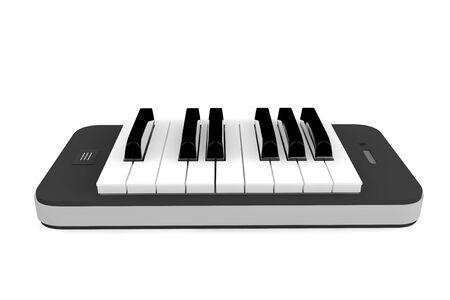 piano: M�sica App Concept. Llaves del piano sobre el tel�fono m�vil sobre un fondo blanco Foto de archivo