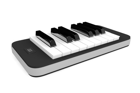 piano: Música App Concept. Llaves del piano sobre el teléfono móvil sobre un fondo blanco Foto de archivo
