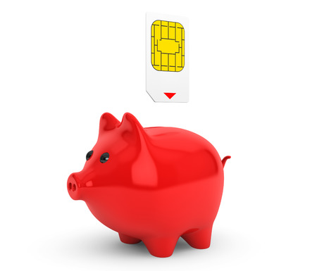 Sim Card Putting into Piggy Bank on a white background photo