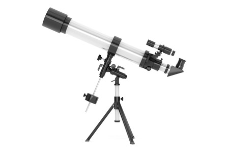Silver Telescope on Tripod over white background 스톡 콘텐츠