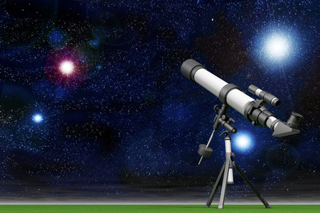 Telescope with a Sky full of Stars 3d rendering Stok Fotoğraf