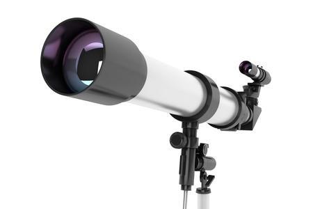 Silver Telescope on Tripod over white background photo