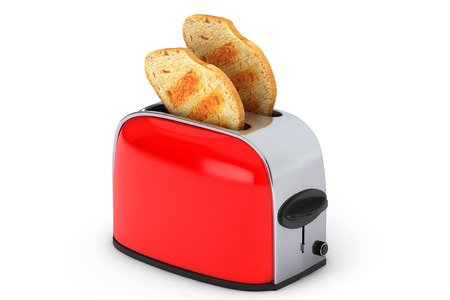 Kitchen Appliance. Toast popping out of Vintage Red Toaster on a white background