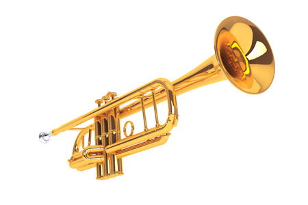 reggae: Polished Brass Trumpet on a white background