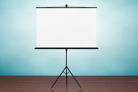 projection screen: Old Style Photo. Blank Projection Screen on the table Stock Photo
