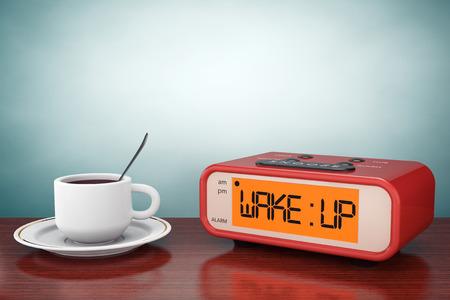 despertador: Foto del viejo estilo. Reloj despertador digital con la taza de café sobre la mesa Foto de archivo