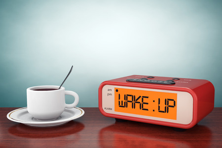 coffee table: Old Style Photo. Digital Alarm Clock with Coffee Cup on the table