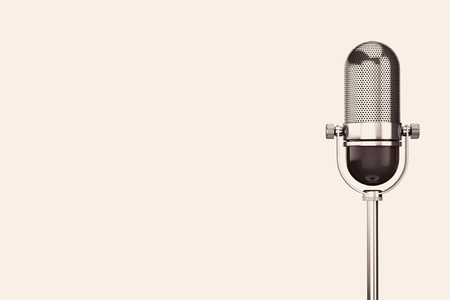 Vintage silver microphone on a white background 스톡 콘텐츠