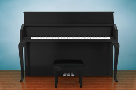 black piano: Old Style Photo. Black piano on the wooden floor Stock Photo