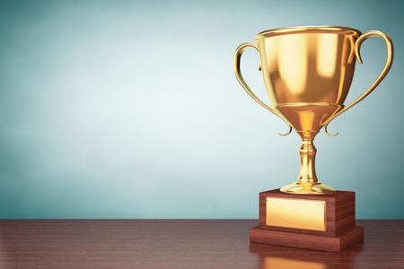 numero uno: Foto del viejo estilo. Campeón de la Copa de oro trofeo en la mesa