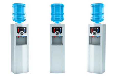 Three Electric water coolers with bottles on a white background