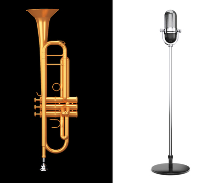 golden section: Polished Brass Trumpet with Vintage silver microphone