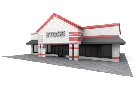 store: 3d Large Store Building on a white background Stock Photo