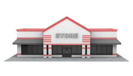 3d Large Store Building on a white background Stok Fotoğraf