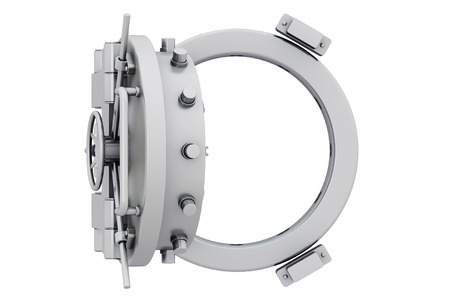 Metallic bankkluis deur op een witte achtergrond Stockfoto