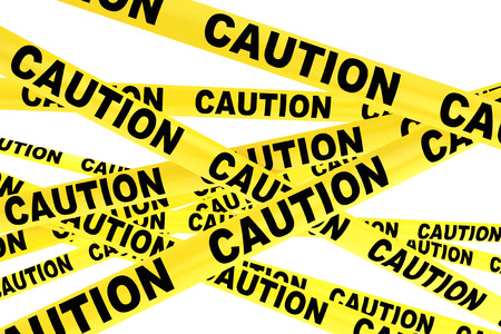 Caution Yellow Tape Strips on a white background Imagens - 40571205