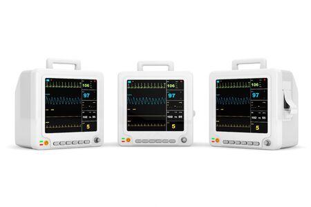 cardiac care: Health care portable cardiac monitoring equipment on a white background
