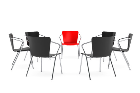 arranging chairs: Chairs arranging round with Boss Chair on a white background. 3d rendering