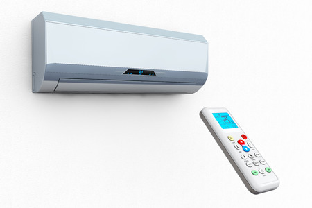 humidifier: Modern air conditioner with remote on a white background