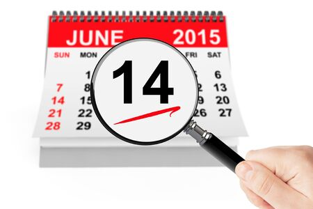 14: 14 june 2015 calendar with magnifier on a white background