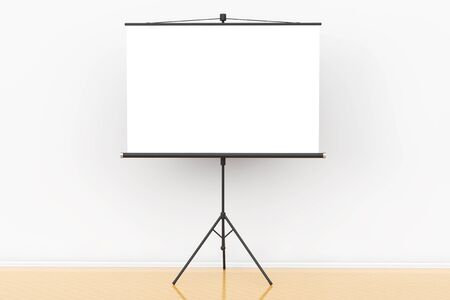 tripod projector: Blank Projection Screen in front of the wall