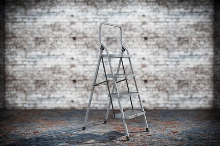 reachability: Extreme Closeup Ladder on a grunge background Stock Photo