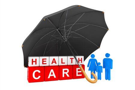 simbolo medicina: Paraguas negro cubre Cubos de Cuidado de la Salud con las personas de la familia sobre un fondo blanco