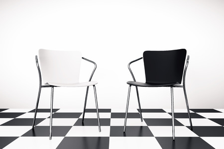 elbow chair: Black and White Chairs on a chessboard background, 3d rendering