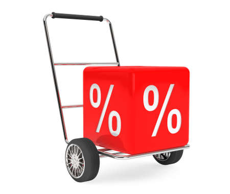 hand cart: Discount Concept. Hand Cart with Percent Cube on a white background