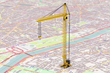 Cargo delivery Concept. Hoisting Crane over map photo