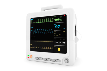 Health care portable cardiac monitoring equipment on a white background