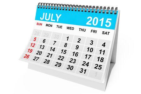 calendario julio: 2015 año calendario de julio sobre un fondo blanco Foto de archivo