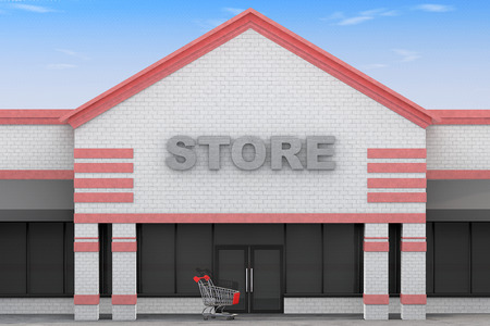 3d Large Store Building on a blue sky background 스톡 콘텐츠