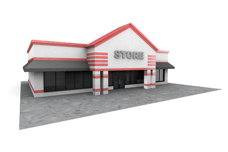 3d Large Store Building on a white background Standard-Bild