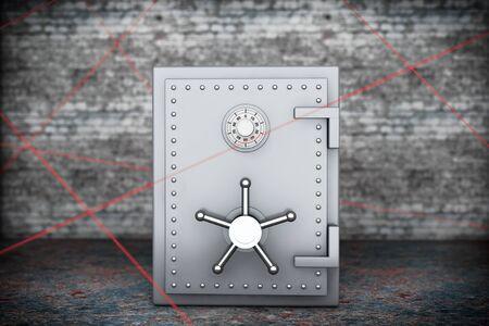 caja fuerte: Concepto de seguridad. Banco de acero seguro con rayos rojos de luz l�ser