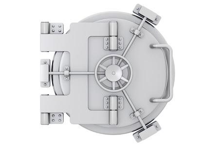 cerrar puerta: Metálico puerta de la bóveda del banco sobre un fondo blanco