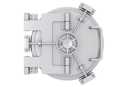 bank deposit: Metallic bank vault door on a white background