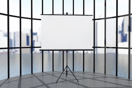 Blank Projection Screen in front of windows