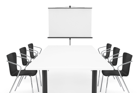 Projection Screen, Table and Chairs on a white background