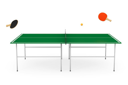 table tennis: Table tennis table with Paddles on a white background Stock Photo