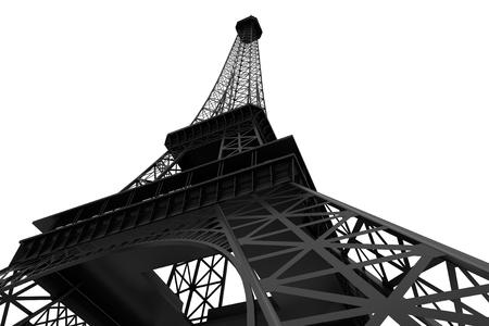 parisian: 3d Eiffel tower on a white background Stock Photo