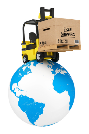earth moving: Forklift truck with Free Shipping Box over Earth Globe on a white background