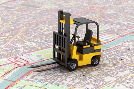 forklift: Cargo delivery Concept. Forklift over map