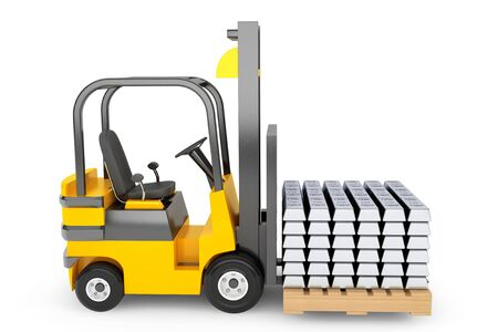 silver bars: Forklift Truck moves Silver Bars on a white background