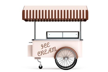 carretto gelati: Gelato carrello su uno sfondo bianco