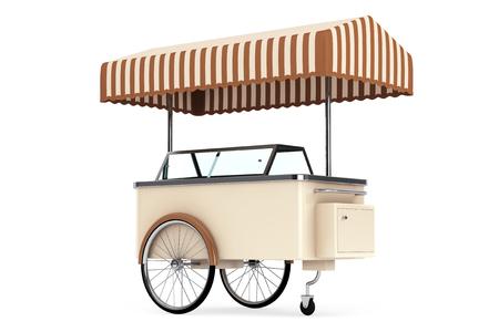 ice cream cart: Gelato carrello su uno sfondo bianco
