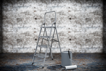 Paint can with roller brush and Ladder on a grunge background photo