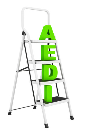 reachability: Extreme Closeup Ladder with Idea Sign on a white background