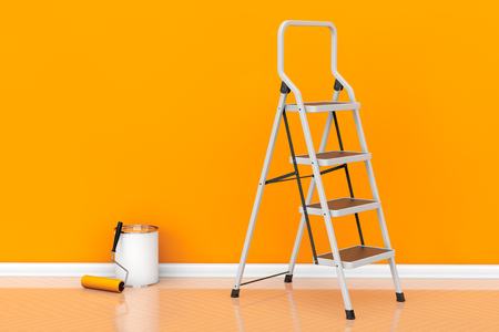 paint can: Painting of walls in a orange color. Paint can with roller brush and Ladder Stock Photo