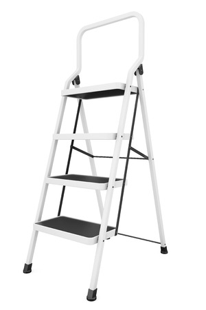 reachability: Extreme Closeup Ladder on a white background